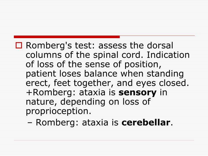 Romberg's test: