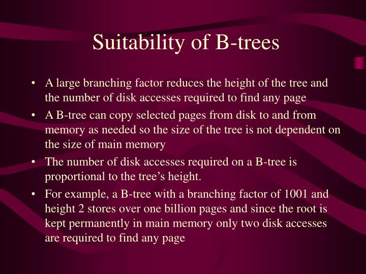 Suitability of B-trees