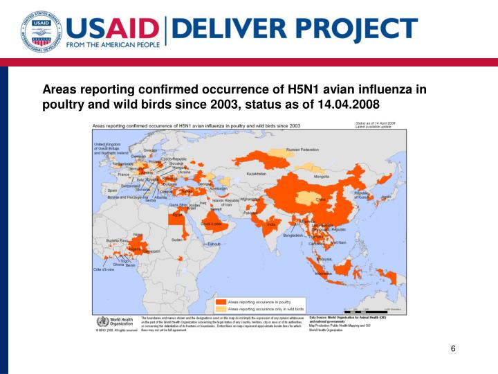 Areas reporting confirmed occurrence of H5N1 avian influenza in poultry and wild birds since 2003, status as of 14.04.2008