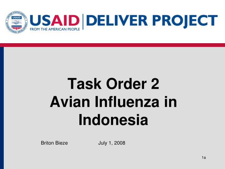task order 2 avian influenza in indonesia