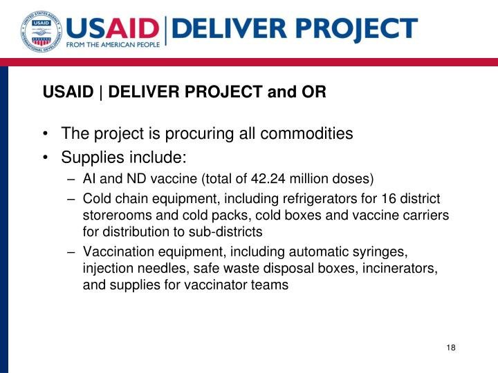 USAID   DELIVER PROJECT and OR