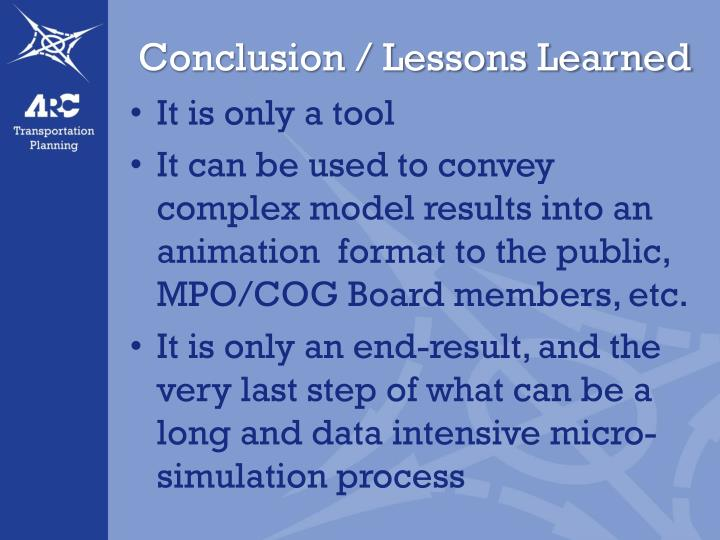 Conclusion / Lessons Learned