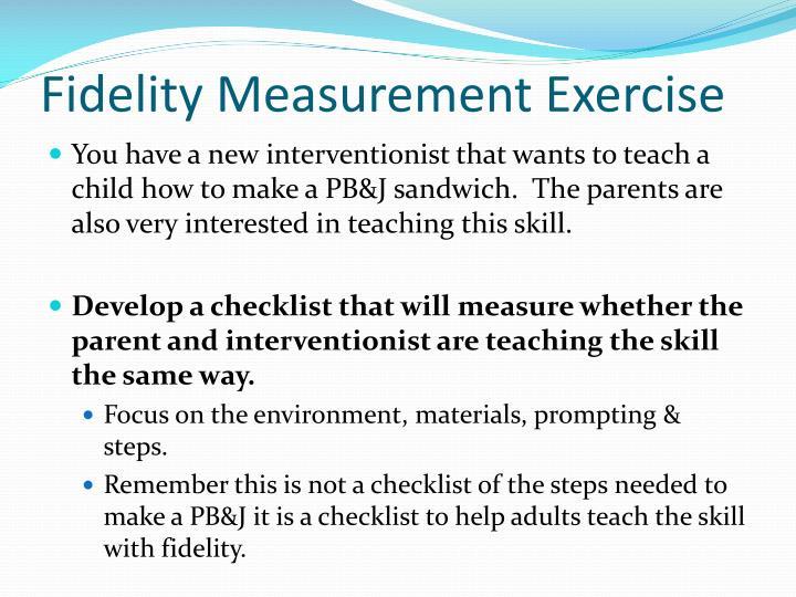 Fidelity Measurement Exercise