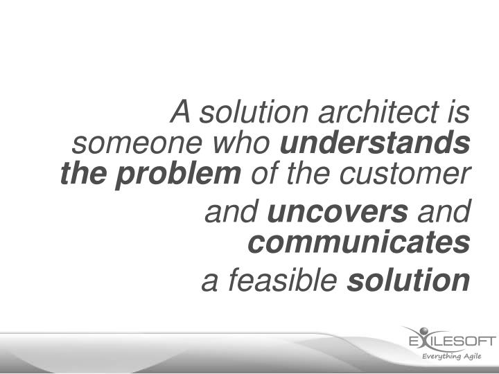 A solution architect is someone who