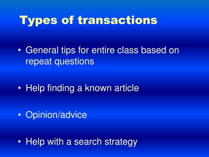 Types of transactions