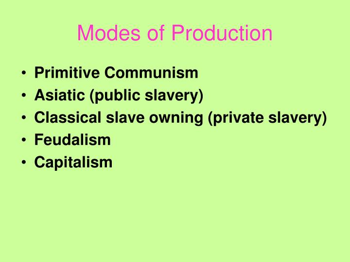 Modes of Production