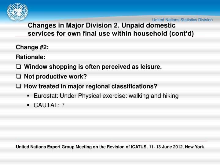 Changes in Major Division 2. Unpaid domestic services for own final use within household (cont'd)
