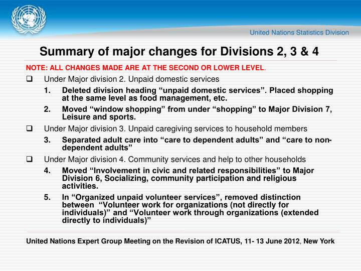 Summary of major changes for Divisions 2, 3 & 4