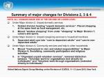 summary of major changes for divisions 2 3 4