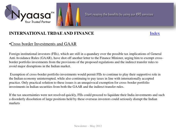 INTERNATIONAL TRDAE AND FINANCE