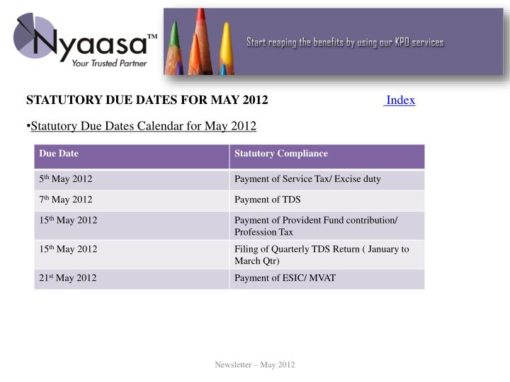 STATUTORY DUE DATES FOR MAY 2012