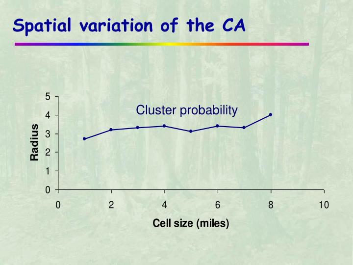 Spatial variation of the CA