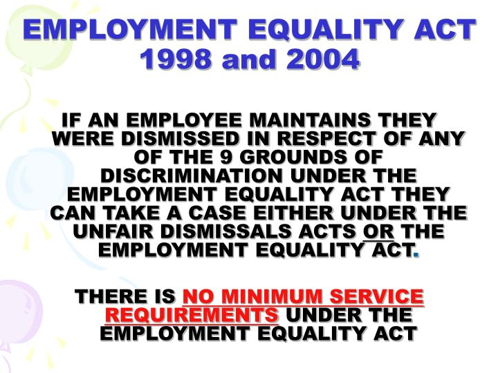 EMPLOYMENT EQUALITY ACT