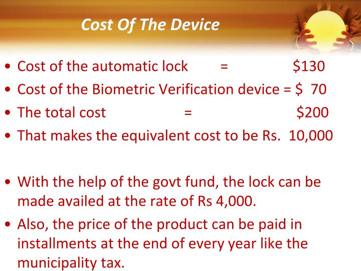 Cost Of The Device