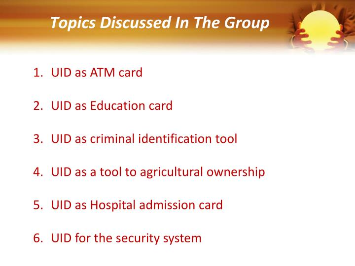 Topics Discussed In The Group