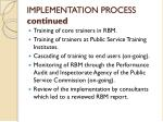 implementation process continued
