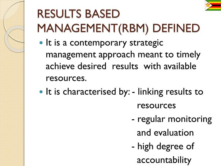 RESULTS BASED MANAGEMENT(RBM) DEFINED