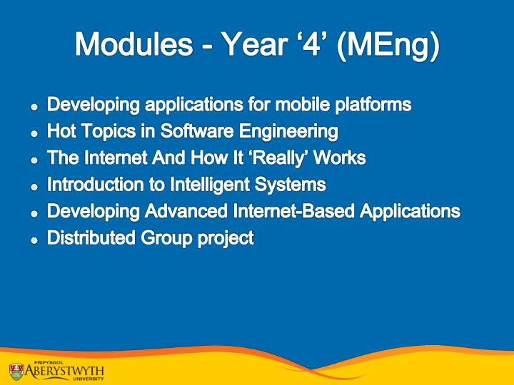 Modules - Year '4' (MEng)