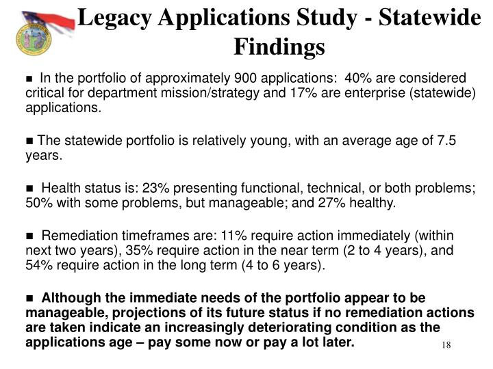Legacy Applications Study - Statewide Findings