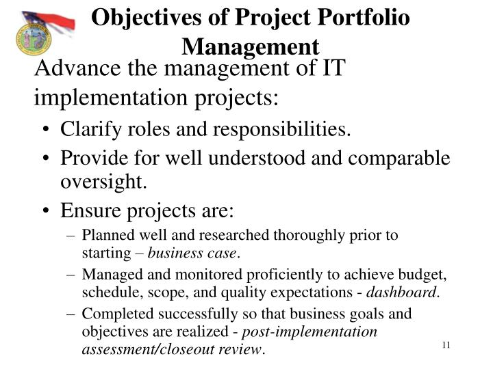 Objectives of Project Portfolio Management