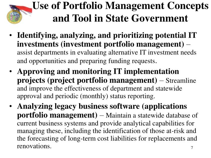 Use of Portfolio Management Concepts and Tool in State Government