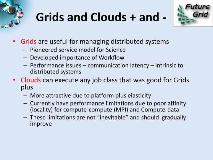 Grids and Clouds + and -