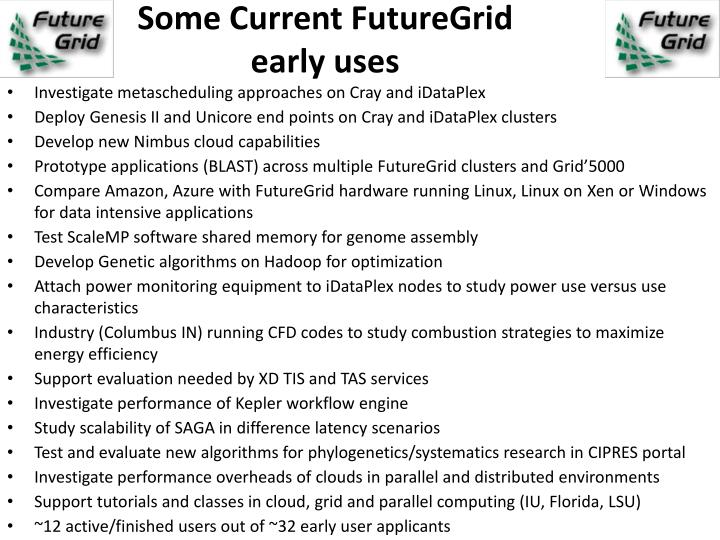 Some Current FutureGrid early uses