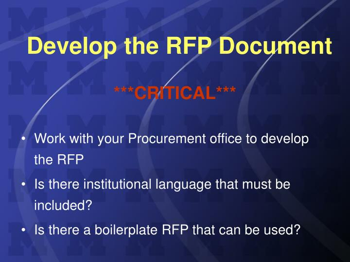 Develop the RFP Document