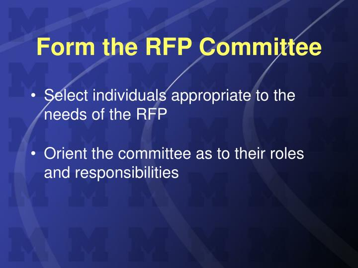 Form the RFP Committee