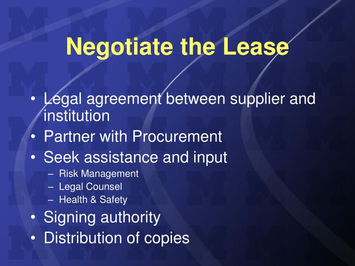 Negotiate the Lease