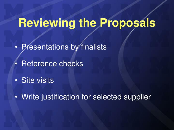 Reviewing the Proposals