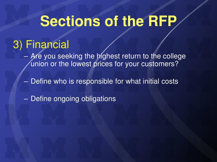Sections of the RFP