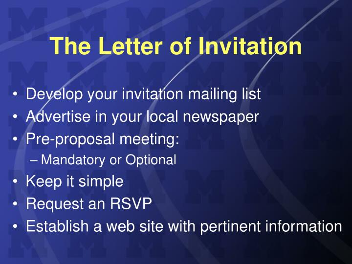 The Letter of Invitation