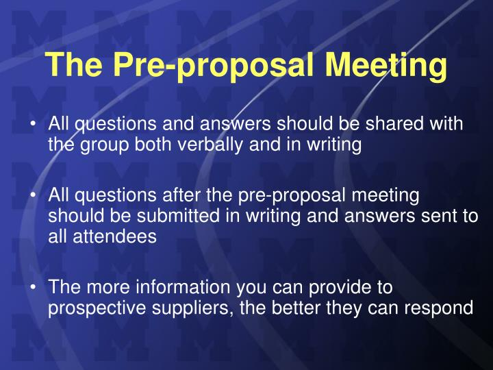 The Pre-proposal Meeting