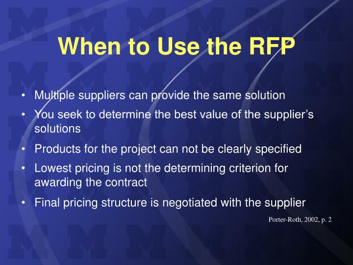 When to use the rfp