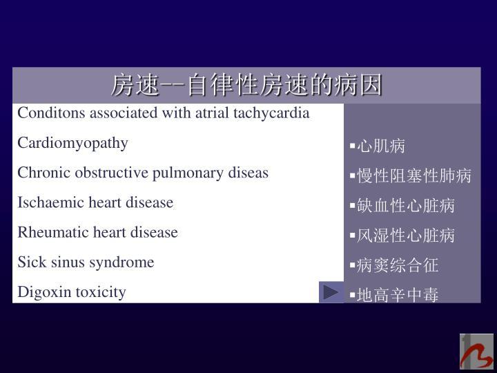 Conditons associated with atrial tachycardia