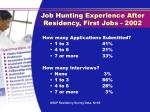 job hunting experience after residency first jobs 2002