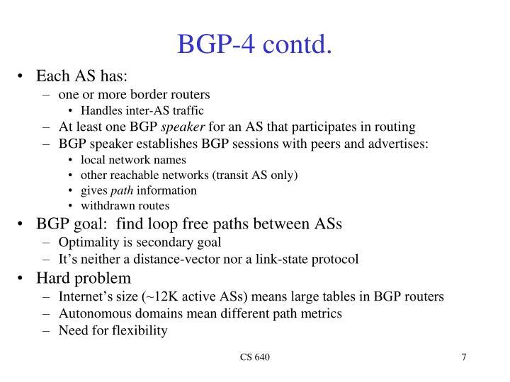 BGP-4 contd.