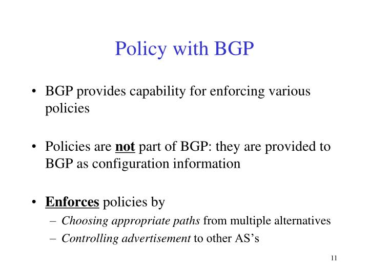 Policy with BGP