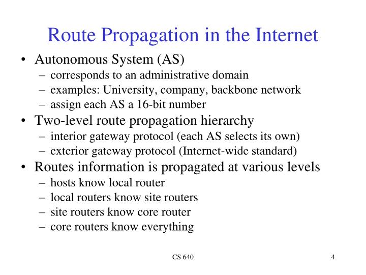 Route Propagation in the Internet