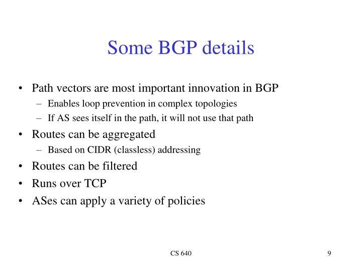 Some BGP details