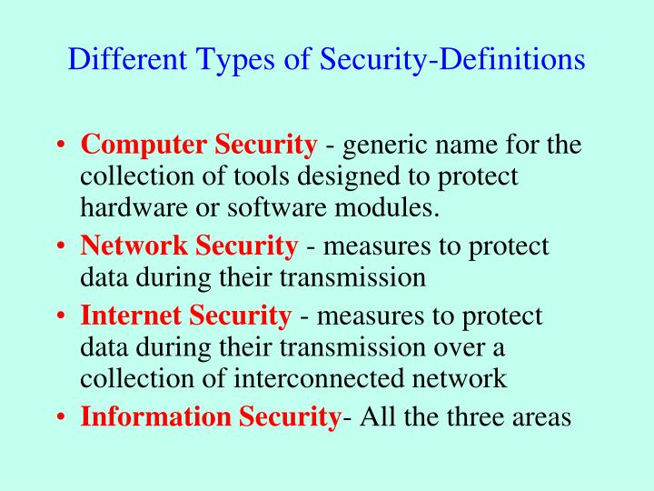 Different Types of Security-Definitions