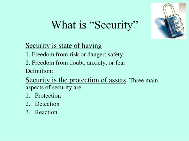 """What is """"Security"""""""