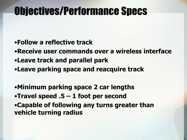Objectives performance specs