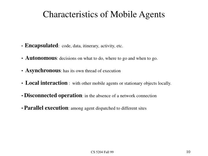 Characteristics of Mobile Agents