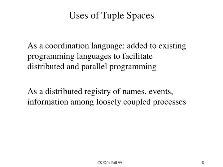 Uses of Tuple Spaces