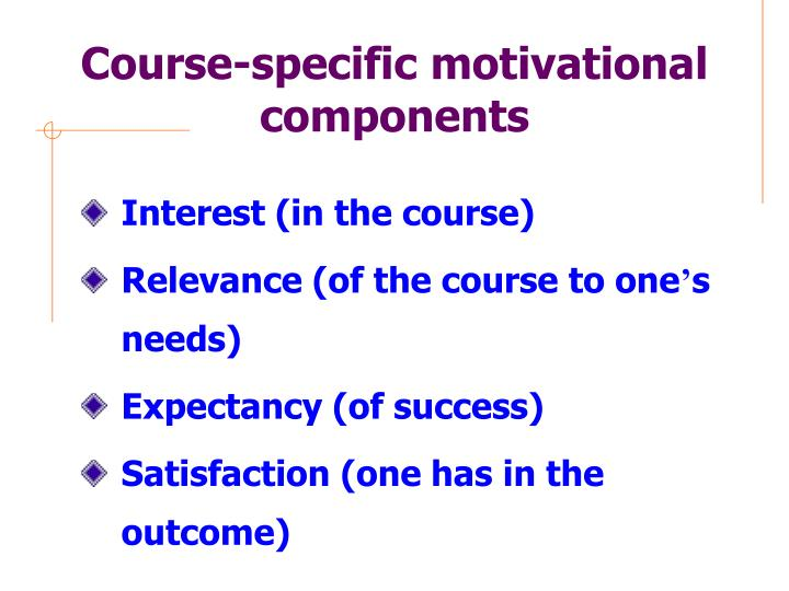 Course-specific motivational components