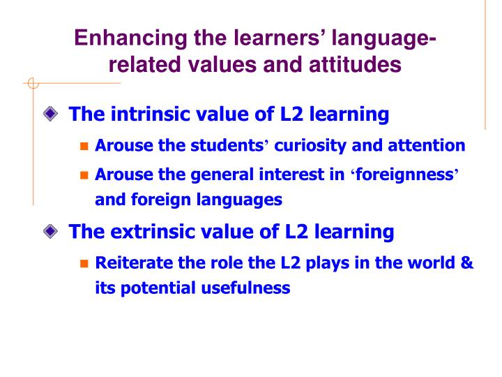 Enhancing the learners' language-related values and attitudes