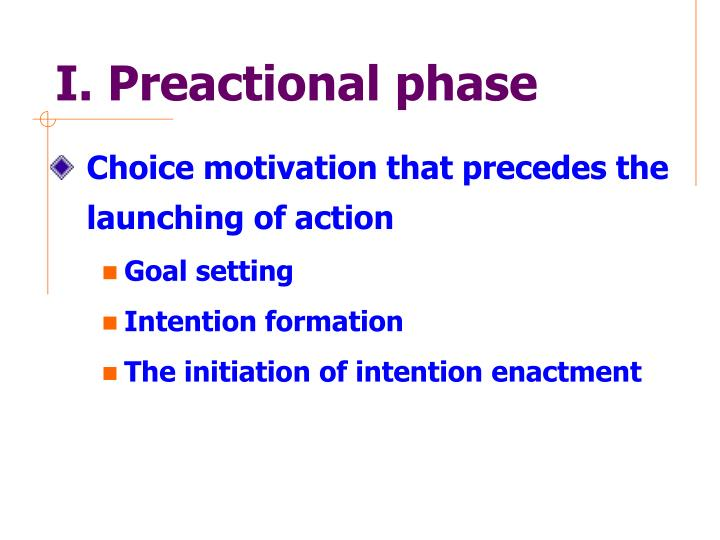 I. Preactional phase