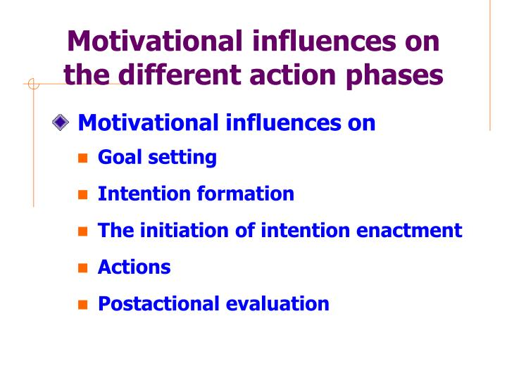 Motivational influences on the different action phases